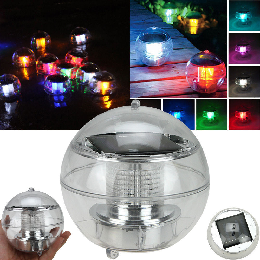 SOLAR Waterproof Floating Ball COLOR CHANGING pool water fountain pond LED light