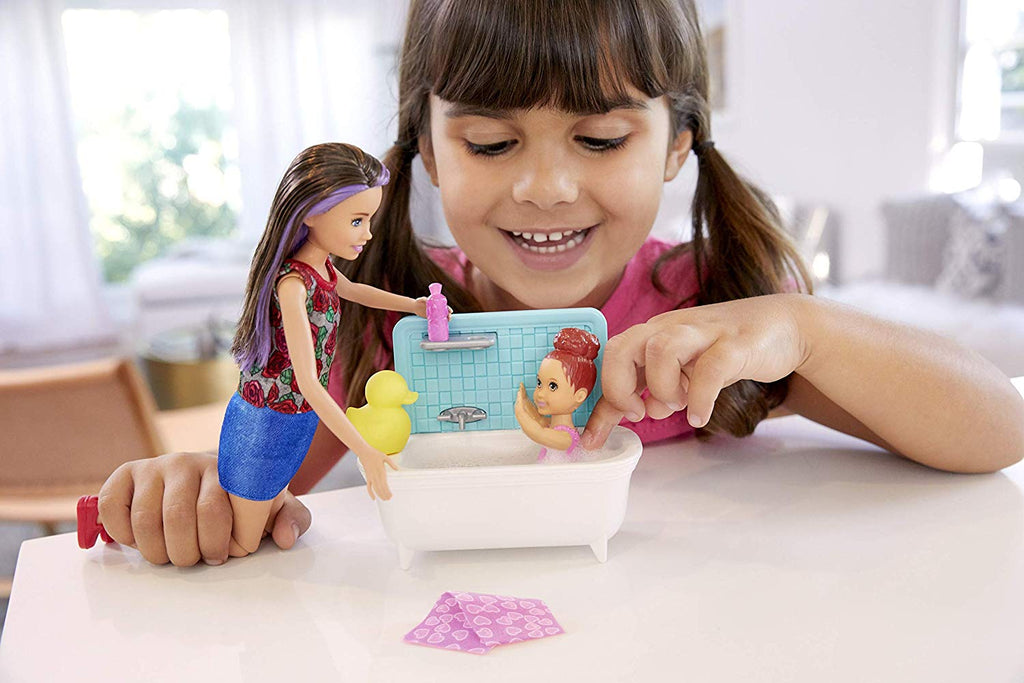Barbie Skipper Babysitters Inc. Bathtime Playset, Brunette