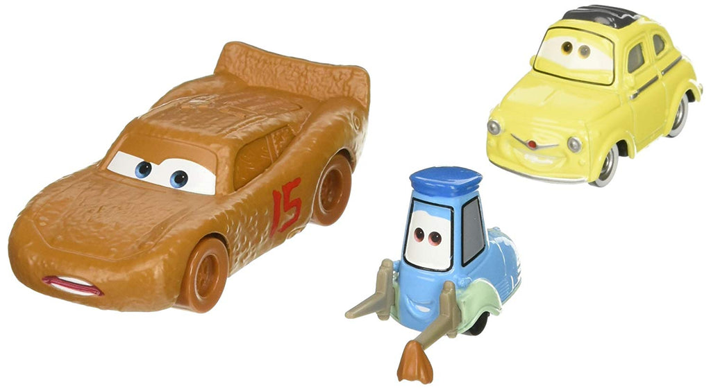 Cars 3 Lightning McQueen as Chester Whipplefilter, Luigi, and Guido Die-Cast Vehicles, 3 Pack