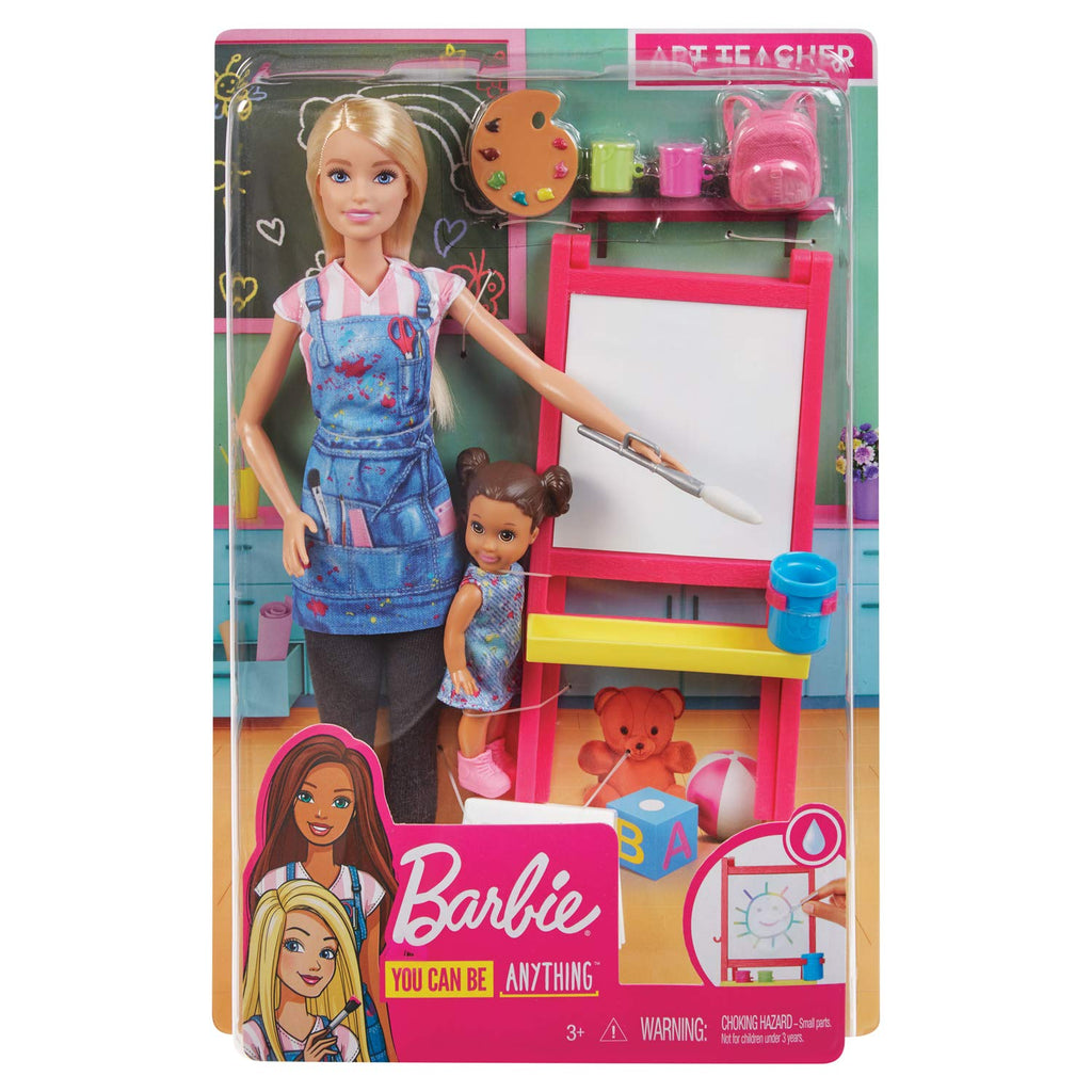 Barbie Art Teacher Playset With Blonde Doll, Toddler Doll, Toy Art Pieces