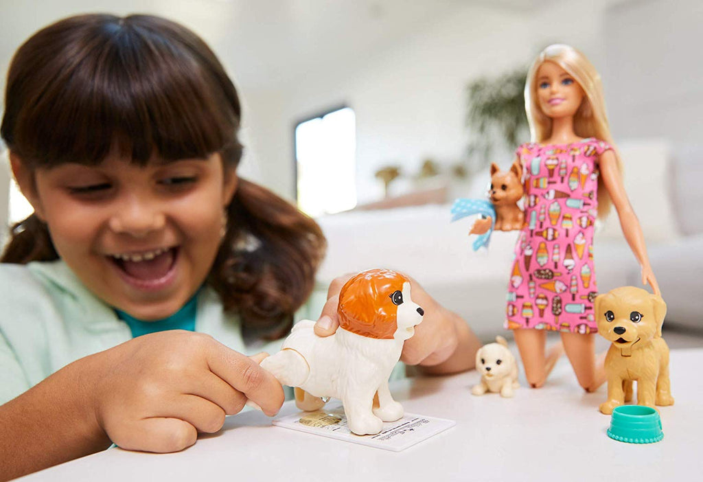Barbie Doggy Daycare Doll, Blonde, and Pets Playset