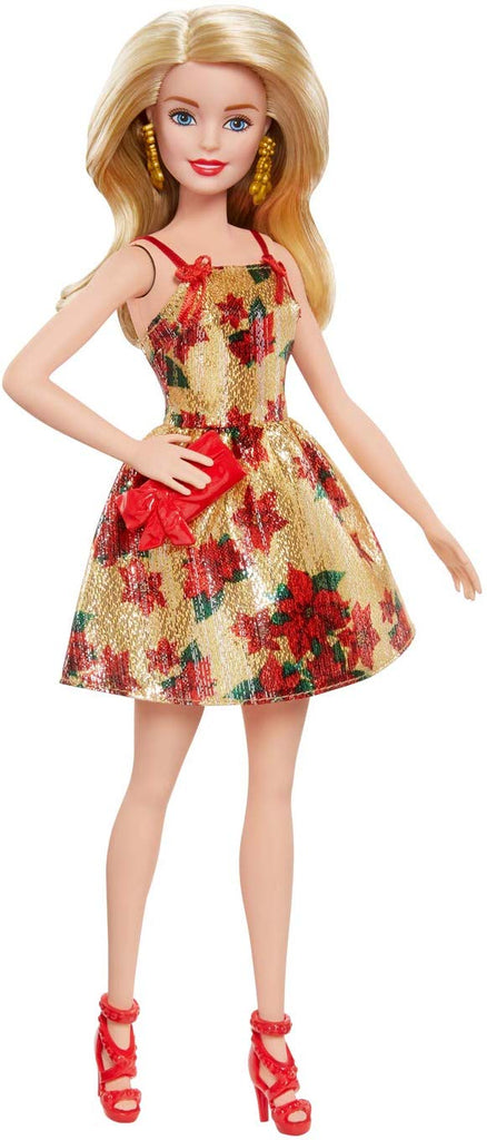 Barbie Christmas Holiday 2018 Doll, Poinsettias and Gold Dress, 11.5""