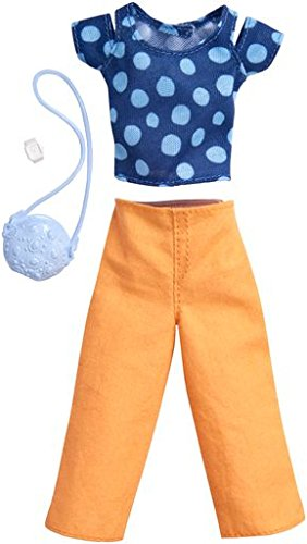 Barbie Fashions Complete Look Blue Polka Dot Top & Peach Pants Set