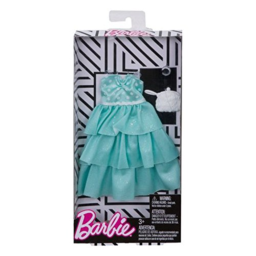 Barbie Fashions Complete Look Mint Polka Dot Ruffle Gown Set