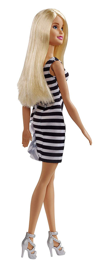 Barbie Glitz Doll, Black & White Stripe Ruffle Dress