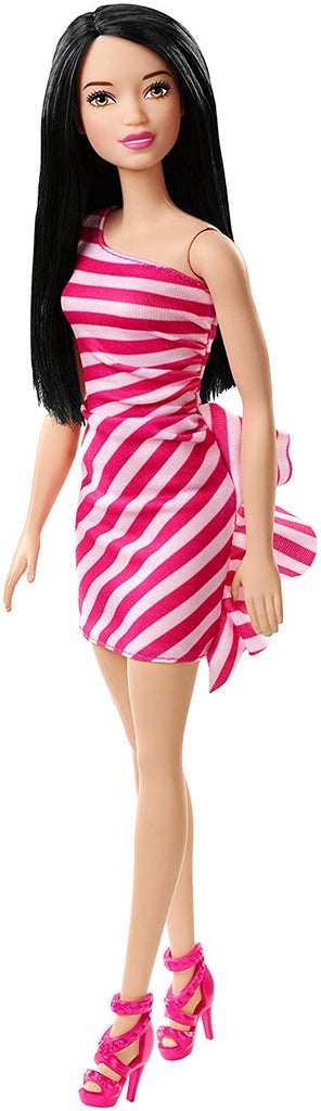 Barbie Glitz Doll, Pink Stripe Ruffle Dress