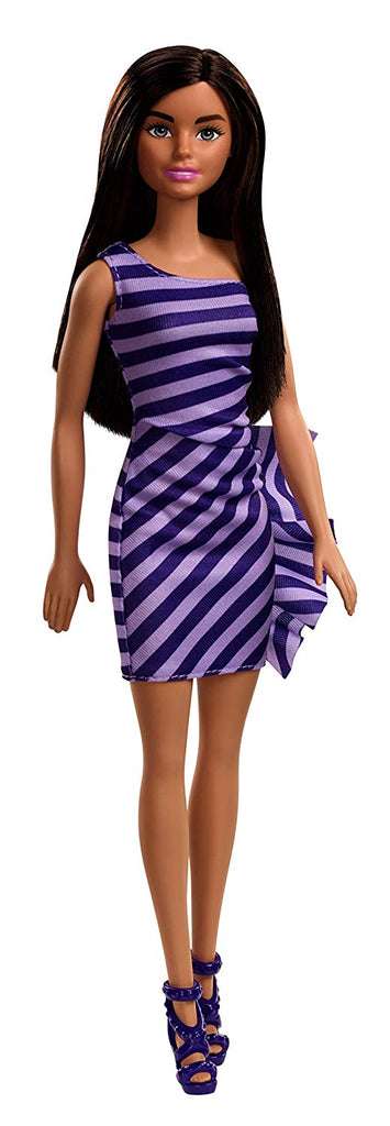 Barbie Glitz Doll, Purple & White Stripe Ruffle Dress