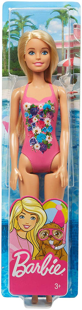 Barbie Beach Doll with Blonde Hair & Pink Graphic Swimsuit