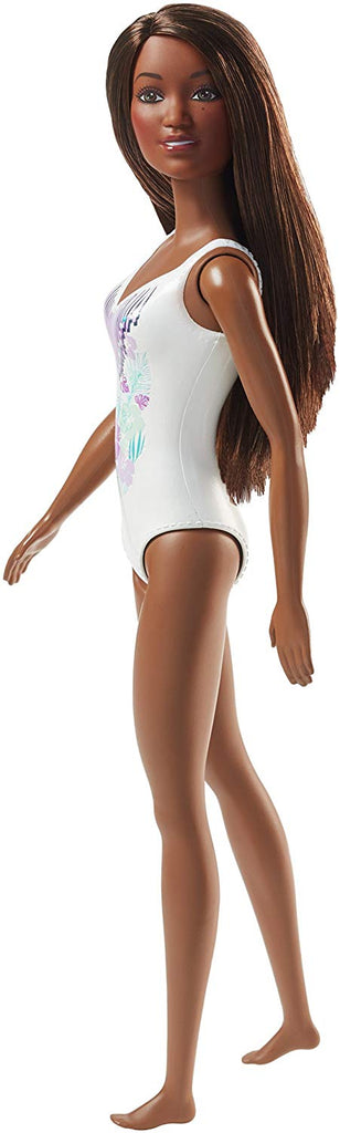 Barbie White Swimwear Beach Doll, Brunette