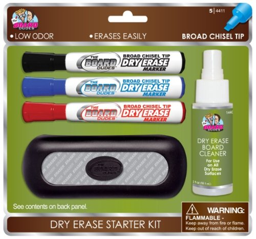 Board Dudes Dry Erase Value Pack with 3 Markers Cleaner Eraser (DDP03)