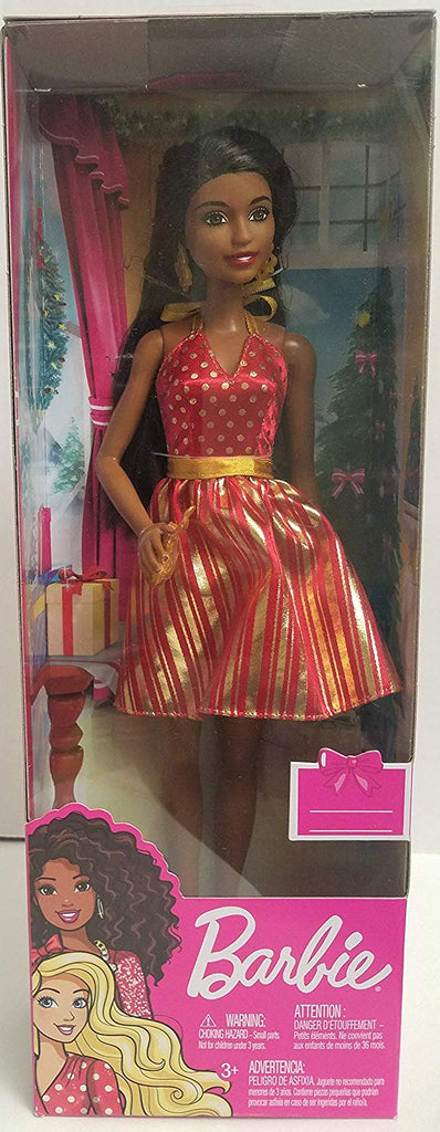Barbie Holiday Doll Red and Gold Dress Brunette
