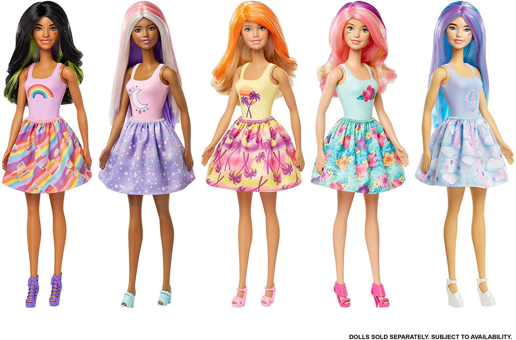 Barbie Color Reveal Doll with 7 Surprises 4 Mystery Bags, Surprise Wig, Skirt, Shoes & Sponge