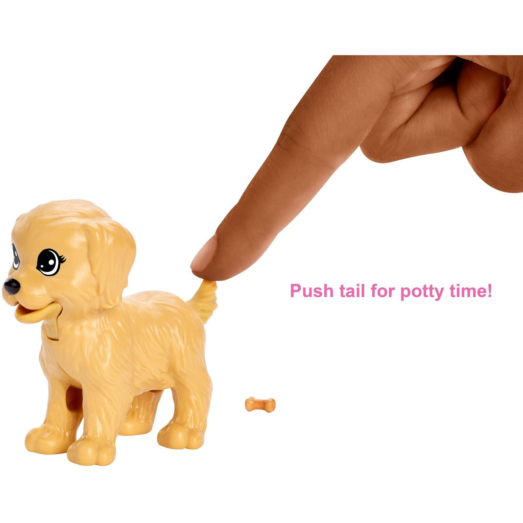 Barbie Doggy Daycare Doll Brunette Hair with 2 Dogs and 2 Puppies