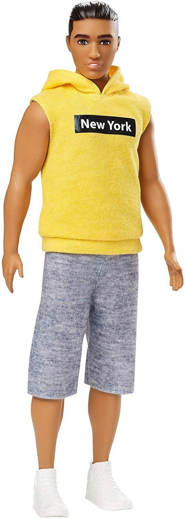 Barbie Ken Fashionistas Doll Wearing Yellow New York Hoodie
