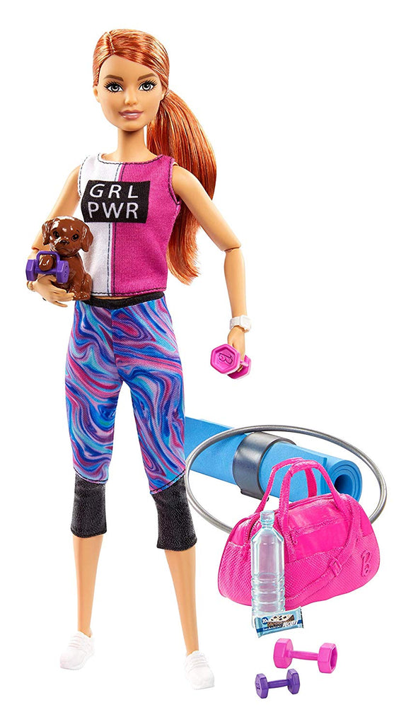 Barbie Fitness Doll Red-Haired With Puppy and 9 Accessories