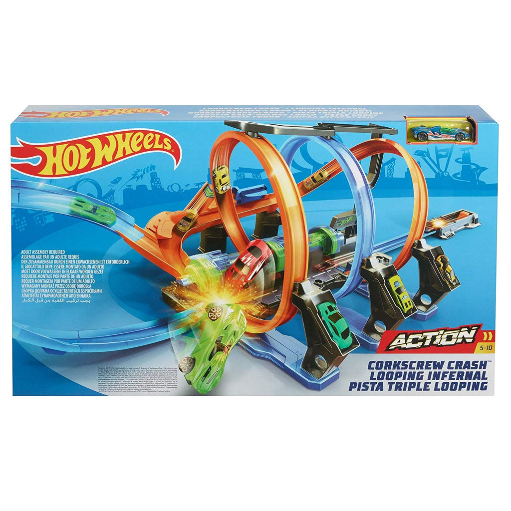 Hot Wheels Corkscrew Crash Track Launch Set with One Vehicle