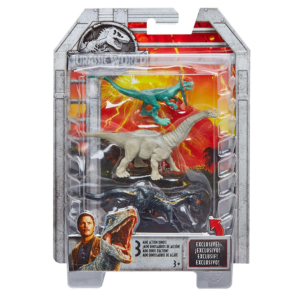 Jurassic World Mini Dino Apatosaurus, Dilophosaurus, Metallic Indoraptor Figures, 3 Pack