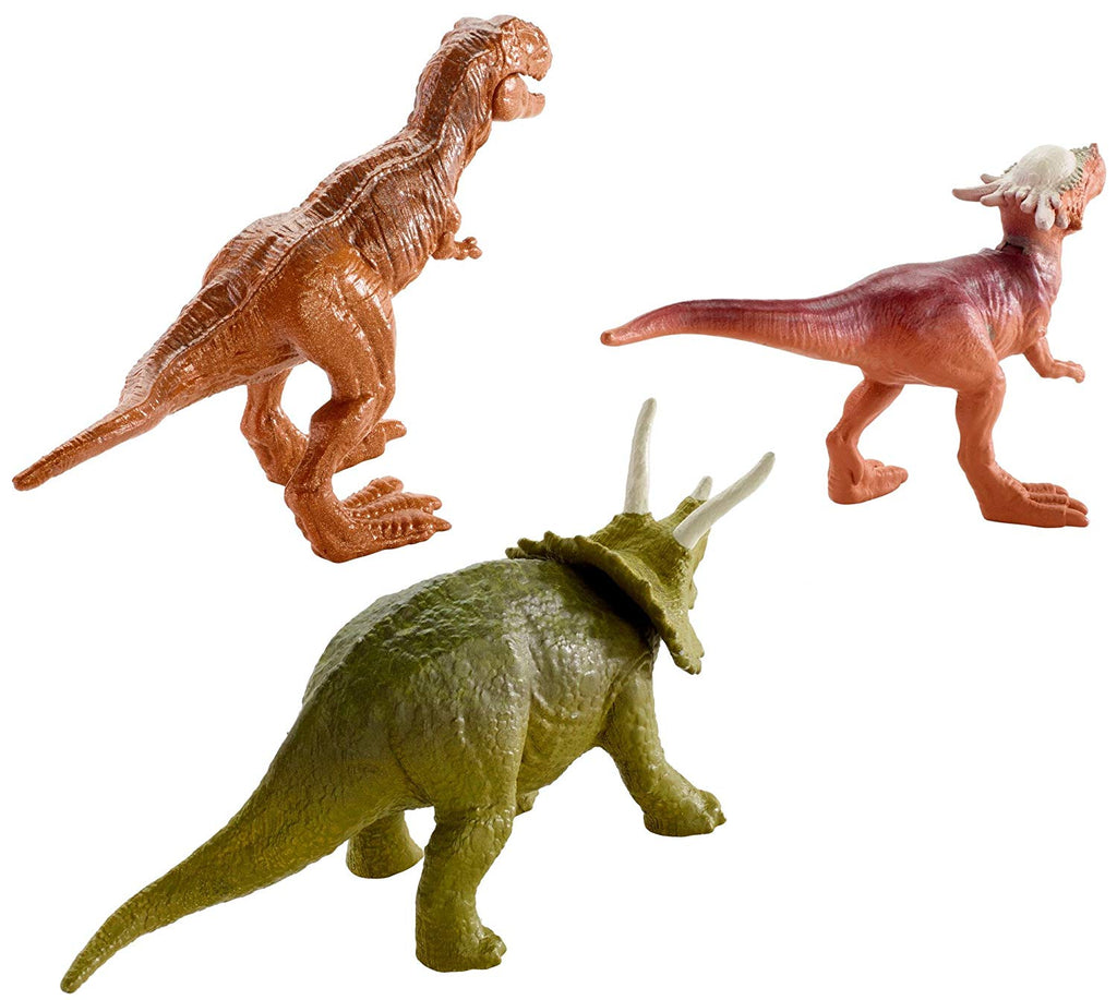 Jurassic World Mini Triceratops, Sygimoloch, & Metallic T-Rex Figures, 3 Pack