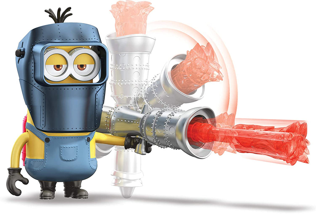 Minions The Rise of Gru Kevin Action Figure with Button Activated Flamethrower and Construction Accessories