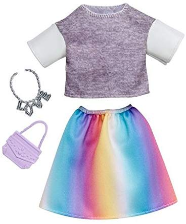 Barbie Fashions Complete Look Gray Top & Rainbow Skirt Set