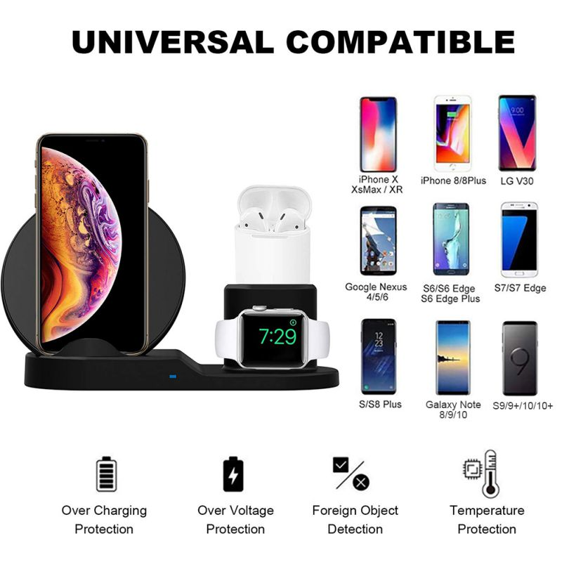 3in1 Qi Wireless Charger Pad Charging Station Dock For Apple Watch iPhone Airpod