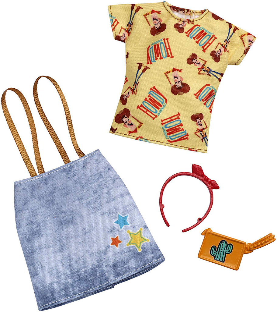 Barbie Toy Story Clothes: Woody Top, Denim Skirt with Suspenders, Purse, Headband