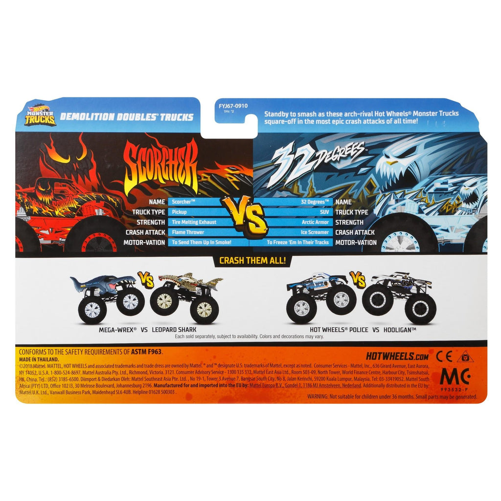 Hot Wheels Monster Trucks 1:64 scale demo doubles 2-pack (styles may vary)