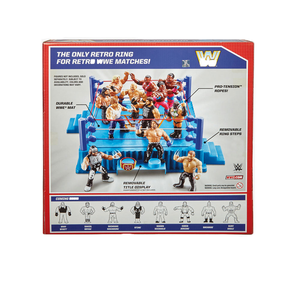Mattel WWE Official Retro Throwback Wrestling Ring Play Set with Removable Steps