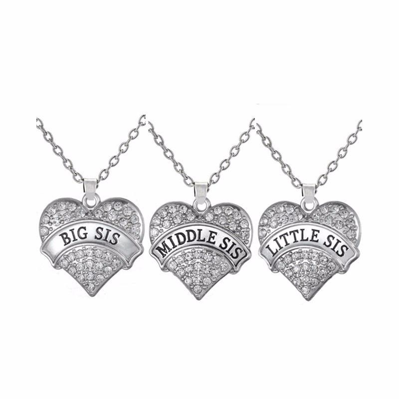 "Set of 3 ""Big Sis""  ""Middle Sis""  ""Little Sis"" Heart necklaces"