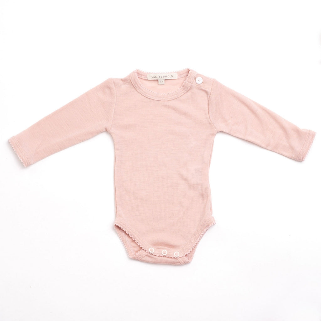 organic merino wool baby body - dusty pink