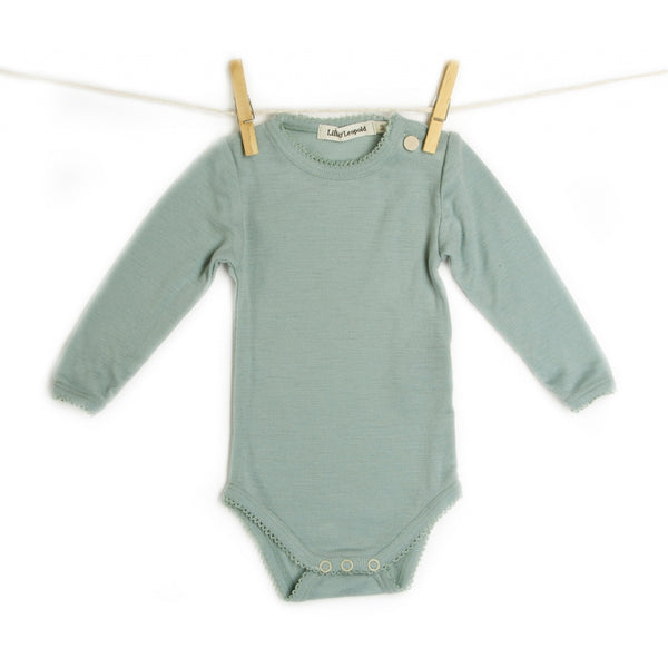 organic merino wool baby body - sea green