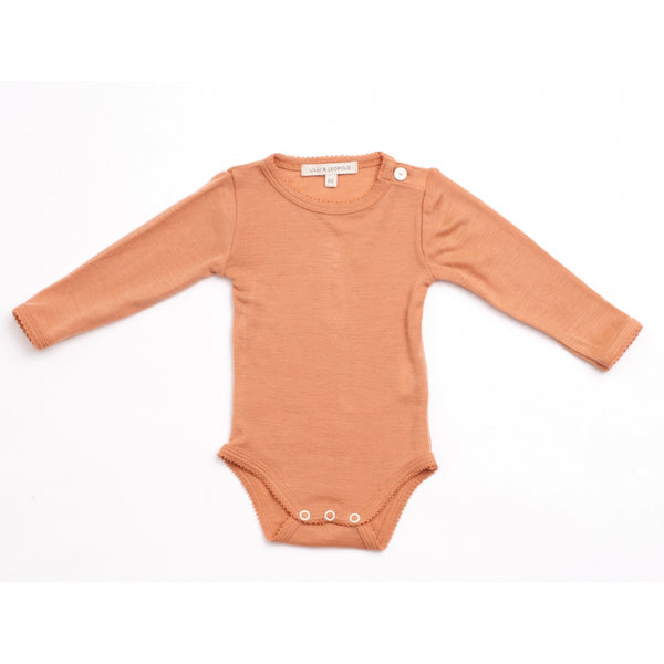 organic merino wool baby body - copper