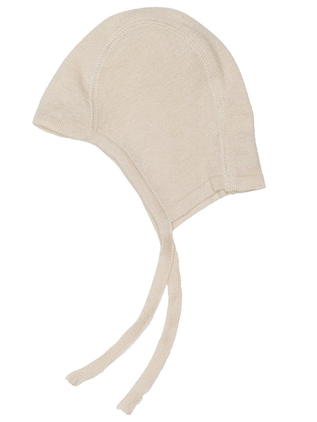 Serendipity organic knitted baby bonnet - natural