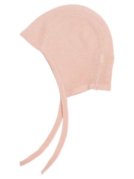 Serendipity organic knitted baby bonnet - rose dust