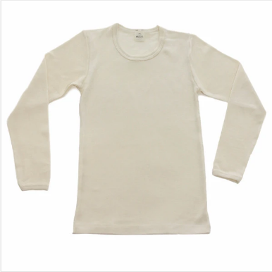 wool silk base layer top- natural