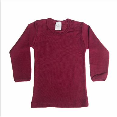 wool silk base layer top- bordeaux