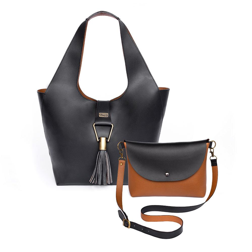 Ivy & Fig Handbag Amia Convertible Tote - Ebony and Chestnut