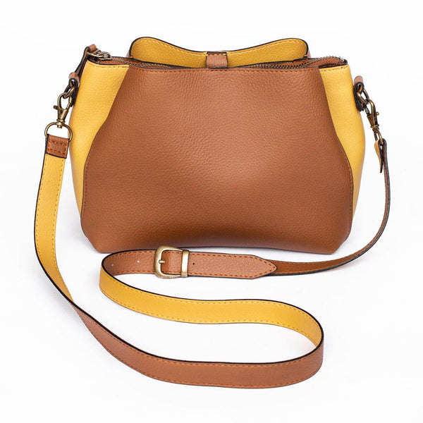 Ivy & Fig Handbag Cameo Shoulder Bag - Chestnut and Honey