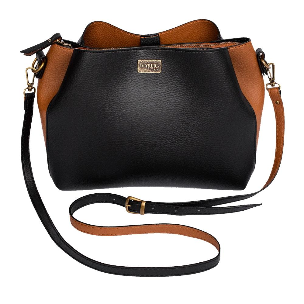 Ivy & Fig Handbag Cameo Shoulder Bag - Ebony and Chestnut
