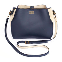 Ivy & Fig Handbag Cameo Shoulder Bag - Navy and Cream