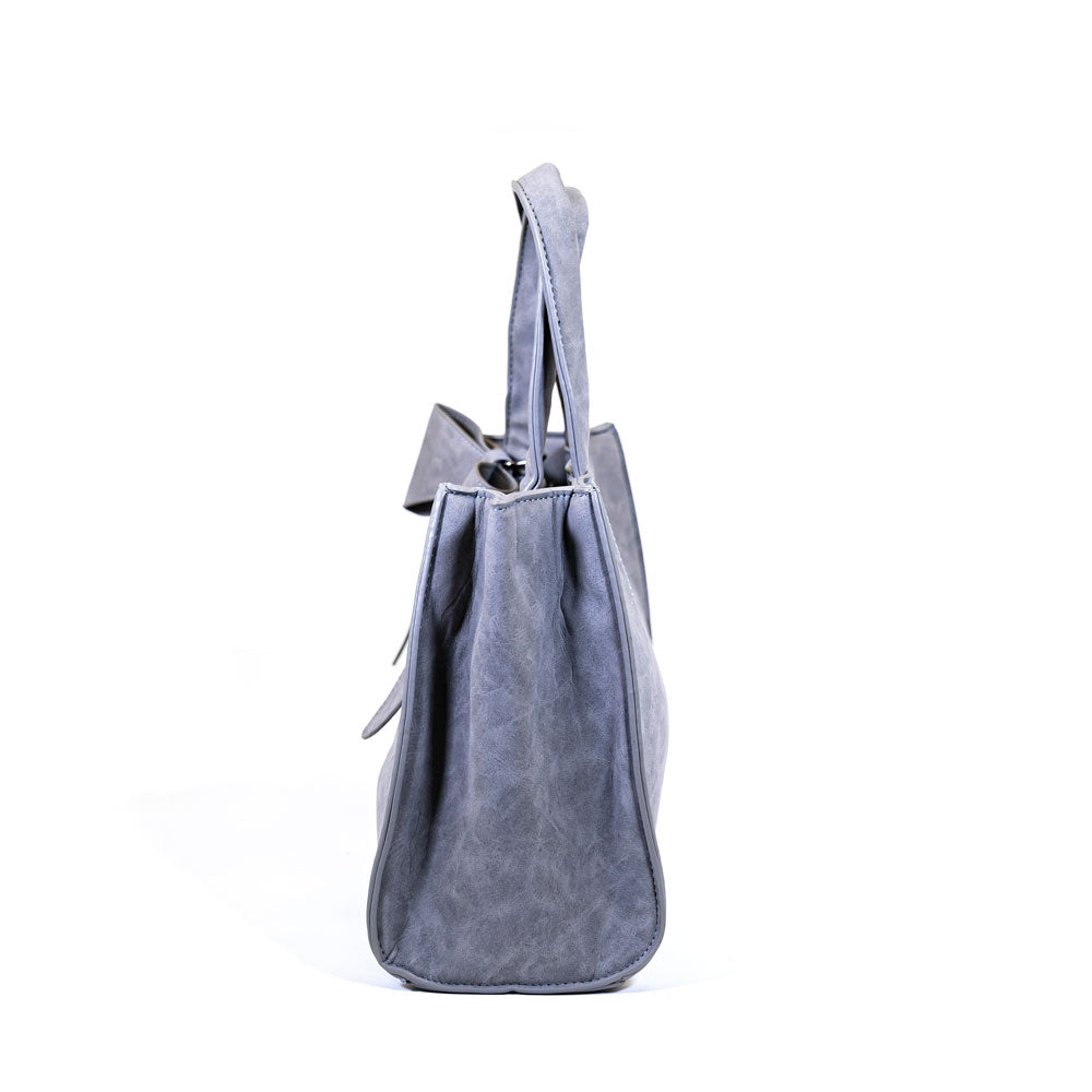 Stylish Bow Shoulder Bag - Light Grey