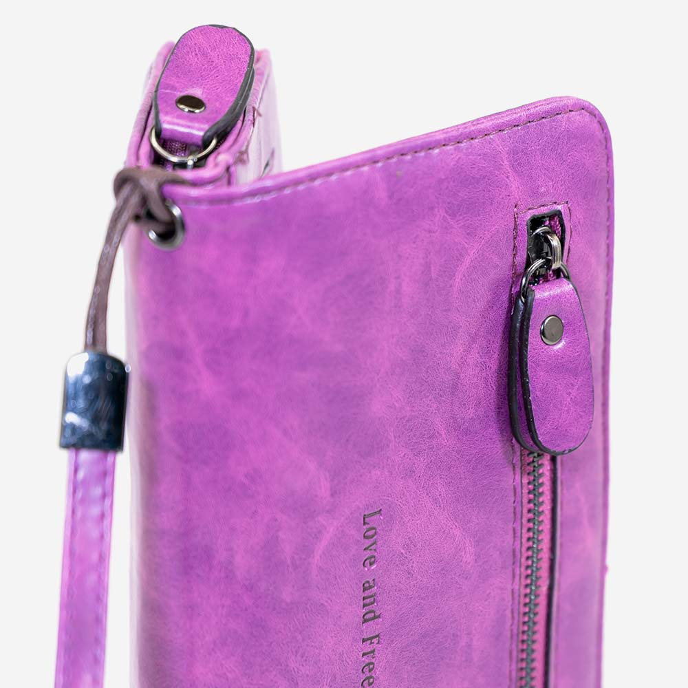 Love and Freedom Wallet - Fuscia