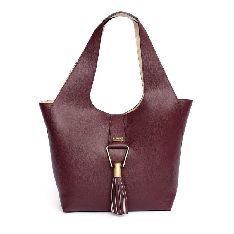 Ivy & Fig Handbag Amia Convertible Tote - Burgundy and Cream