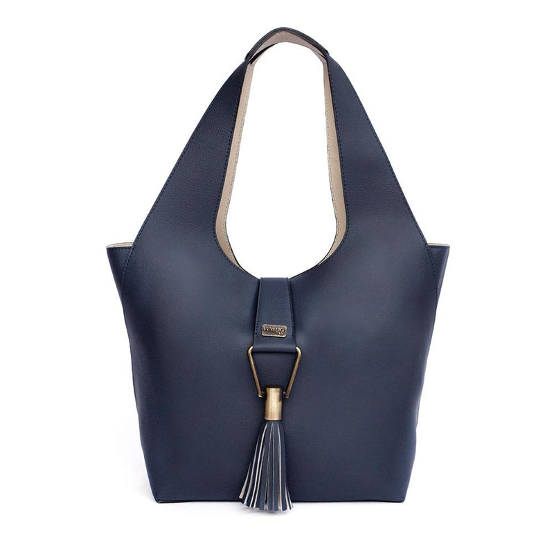 Ivy & Fig Handbag Amia Convertible Tote - Navy and Cream