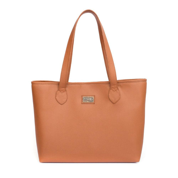 Ivy & Fig Handbag Viola Tote with Pouch - Chestnut