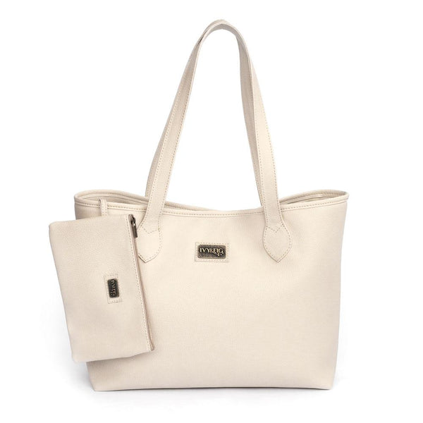 Ivy & Fig Handbag Viola Tote with Pouch - Cream