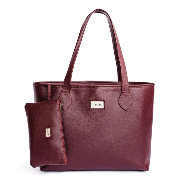 Ivy & Fig Handbag Viola Tote with Pouch - Burgundy