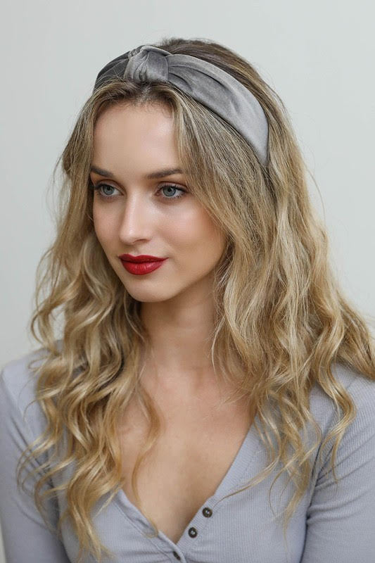 Velvet Twist Knot Gray Headband