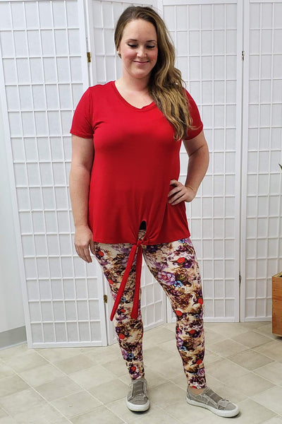 Avelyn Red Front Tie Top