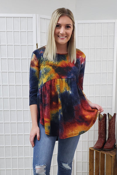 Gretchen Dark Tie Dye Top